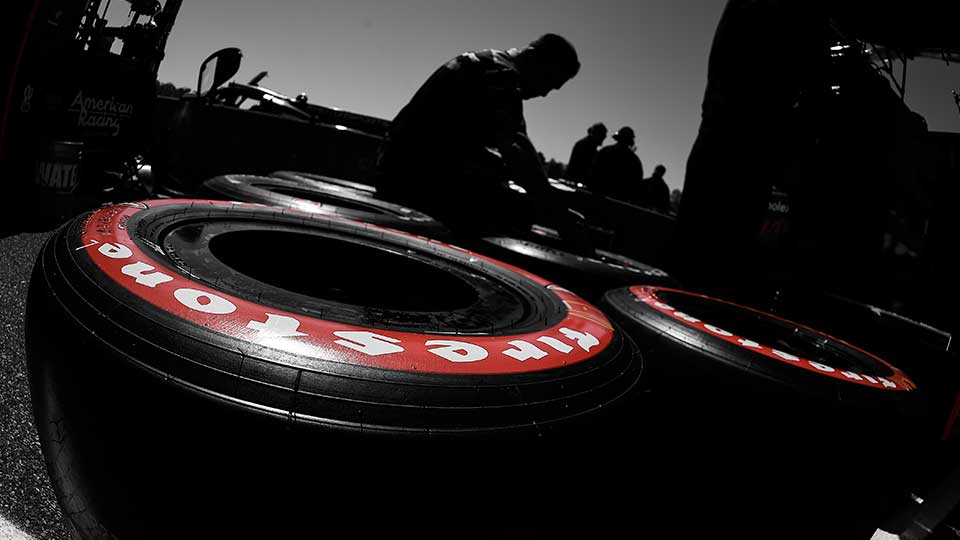 Firestone Tires lay in the pits