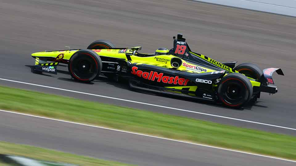 Sebastien Bourdais on track at the Indianapolis Motor Speedway